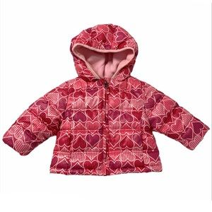 Healthtex Pink Hearts Winter Bubble Puffer Jacket